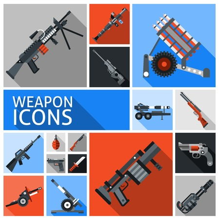 rpg: Weapon decorative icons set with machine gun grenade handgun isolated vector illustration