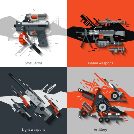 military: Weapon design concept set with small arms heavy light artillery flat icons isolated vector illustration Illustration