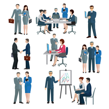 Office worker workgroup workflow businessmen and businesswomen icons set isolated vector illustration