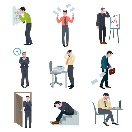 results: Failure business set with frustrated businessman failure project disaster bad results isolated vector illustration Illustration