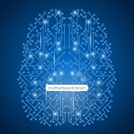 circuitos electronicos: Placa de circuitos de ordenador en la tecnología de forma del cerebro y el concepto de inteligencia artificial ilustración vectorial