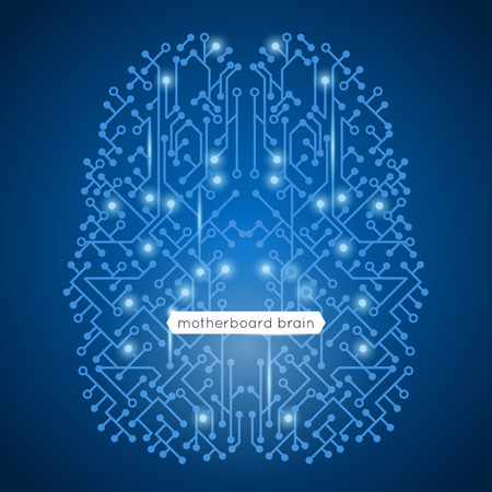 Computer circuit motherboard in brain shape technology and artificial intelligence concept vector illustration Illustration