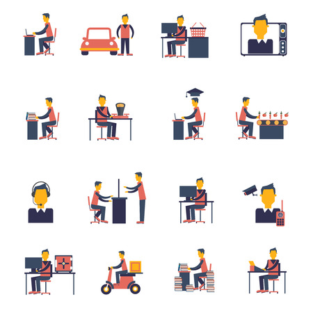 computer chair: Sedentary living inactive passive man sitting icon flat set isolated vector illustration