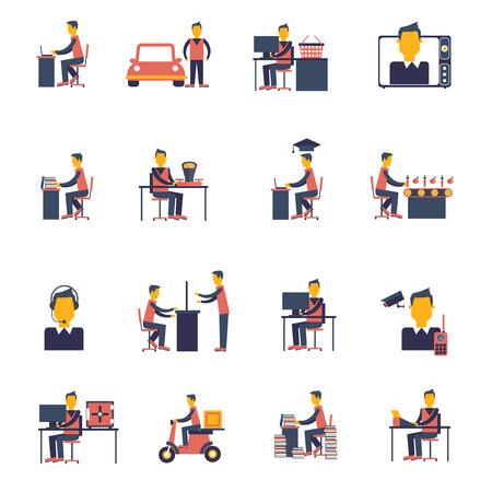 sedentario: Vida sedentaria inactivo hombre pasivo sentado aislado conjunto de iconos plana ilustraci�n vectorial Vectores
