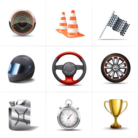 Racing decoratieve pictogrammen die met geïsoleerde stopwatch verkeerskegels vlag illustratie Stock Illustratie