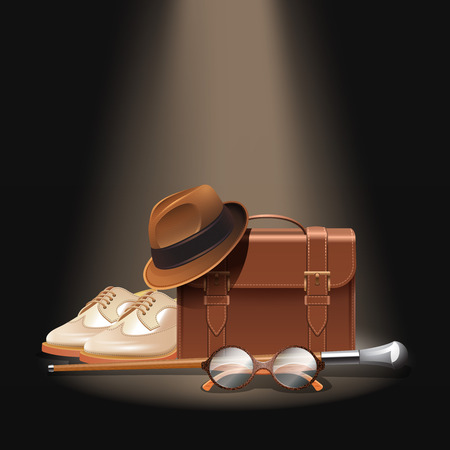 Gentleman accessories set with realistic briefcase shoes bowler hat stick and glasses vector illustration