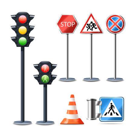 red sign: Traffic sign and lights realistic 3d decorative icons set isolated vector illustration