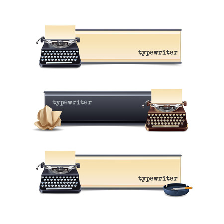 typewriter: Typewriter horizontal banners set with realistic paper sheet isolated vector illustration