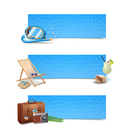 snorkeling: Travel banner horizontal set with realistic snorkeling mask lounge cocktail and suitcase isolated vector illustration Illustration