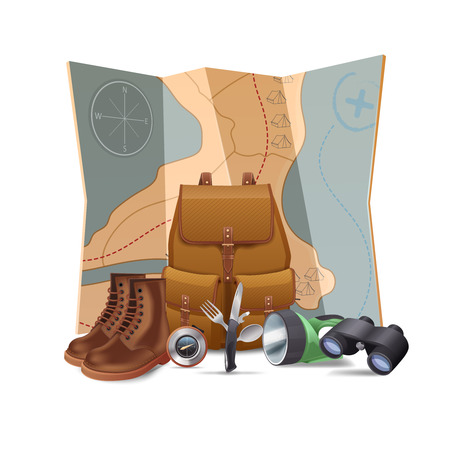 walking trail: Tourism and hiking concept with realistic boots backpack binoculars vector illustration