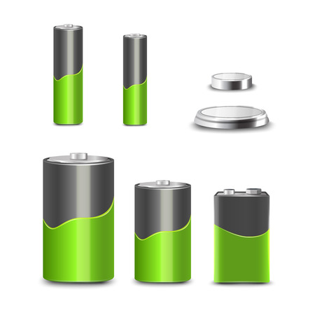 battery icon: Realistic 3d battery types decorative icons set isolated vector illustration Illustration