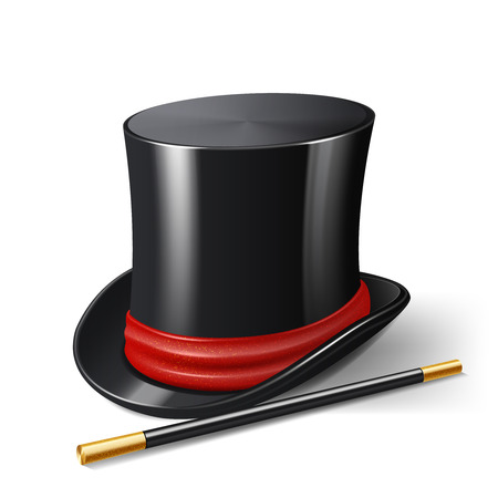 silk hat: Realistic magician hat with magic stick entertainment show accessories isolated on white background vector illustration
