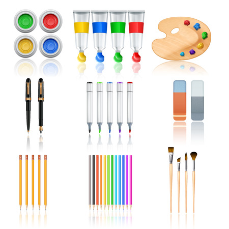 art and craft equipment: Drawing and painting tools with realistic color palette pencils and brushes isolated vector illustration