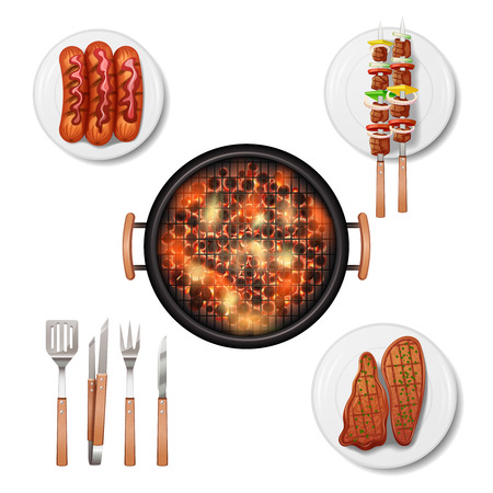 meat on grill: Bbq grill decorative icons set with realistic food isolated vector illustration Illustration