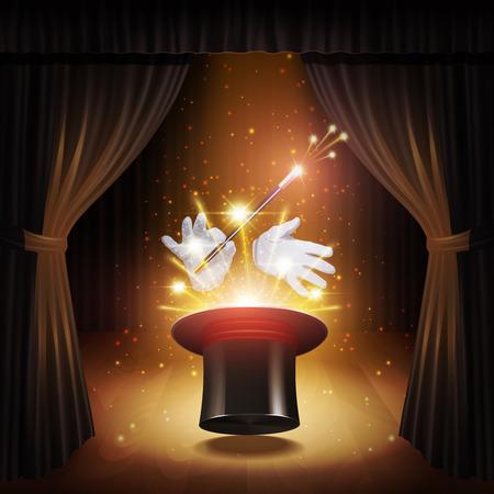 alzando la mano: Cartel truco de magia con guantes cilindros mago realista y palo con cortinas en la ilustraci�n de fondo vector