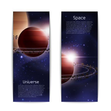 an orbit: Space and universe banners vertical set with realistic planet with orbit isolated vector illustration