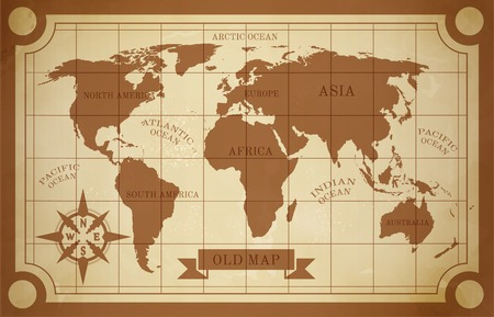 world design: Old style world map vintage document travel poster vector illustration