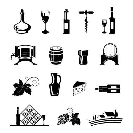 Wine decorative black icons set with barrel corkscrew bottle isolated vector illustration