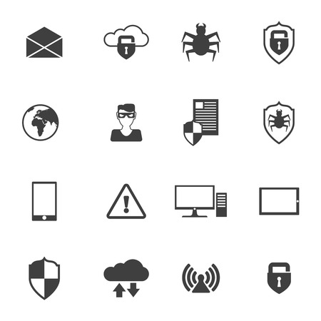 security technology: Network security safe information computing technology icons set black isolated vector illustration