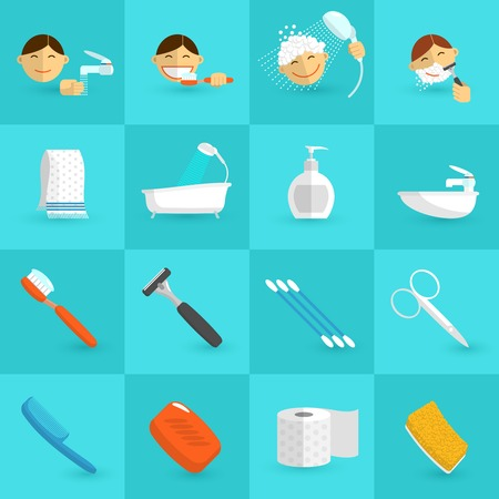 personal care: Personal hygiene icons flat set with bathroom cosmetics isolated vector illustration