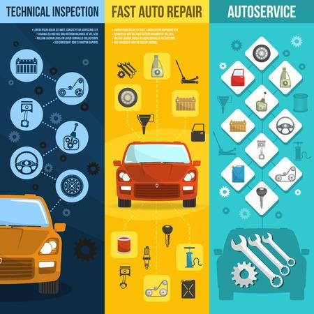 Auto service pionowy baner zestaw z naprawy samochodu kontroli technicznej pojedyncze ilustracji wektorowych