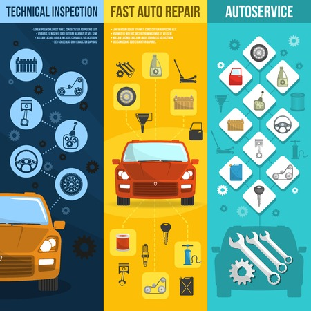 quality service: Auto service vertical banner set with technical inspection car repair isolated vector illustration