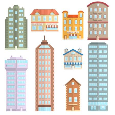 edificios: Apartamento ciudad de Casa y construcci�n de la ciudad iconos decorativos plana conjunto aislado ilustraci�n vectorial Vectores