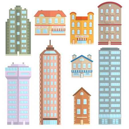 home building: House apartment town and city building decorative icons flat set isolated vector illustration Illustration