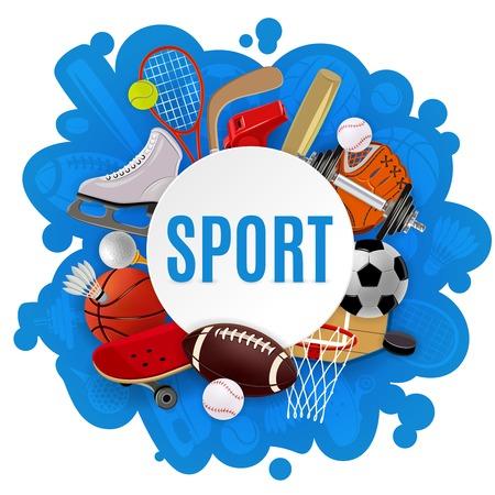Concepto del equipo de deporte con juegos competitivos accesorios y ropa deportiva ilustración vectorial Foto de archivo - 37811640