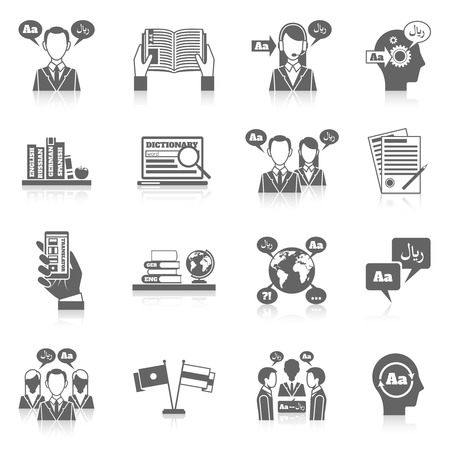 Traduction et de l'éducation de langue du dictionnaire icône noire ensemble isolé illustration vectorielle