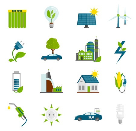 solar panel house: Eco renewable and alternative energy flat icons set isolated vector illustration