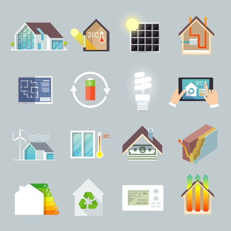 energy conservation: Energy saving environment friendly green house icons set isolated vector illustration