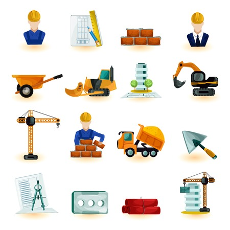 skid steer: Architect industrial and construction engineer decorative icons set isolated vector illustration