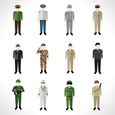 Militaire soldaat in uniform avatar tekenset geïsoleerde vector illustratie