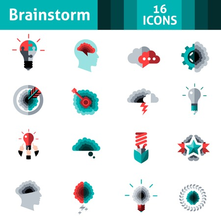 productividad: Logro de creatividad y productividad iconos de destino Brainstorm conjunto aislado ilustración vectorial Vectores