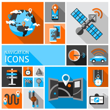 navigation object: Navigation auto gps traffic system and travel decorative icons set isolated vector illustration Illustration