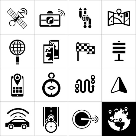 navigator: Navigation icons black set with satellite gps navigator maps routes isolated vector illustration