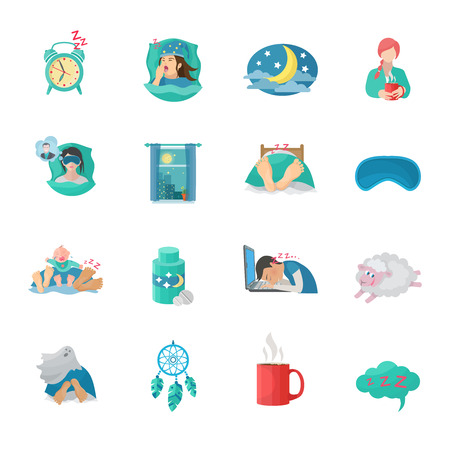 restful: Sleep time flat icons set with alarm clock moon dreaming symbols isolated vector illustration Illustration