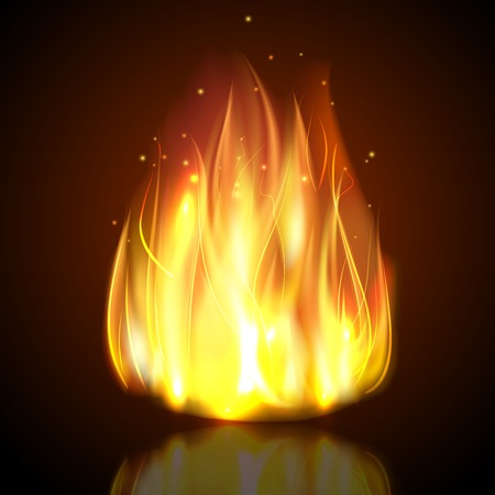 flame: Fire burning campfire flame with sparks on dark background vector illustration