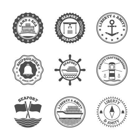 sea port: Sea port marine transport and cruise shipping label set isolated vector illustration
