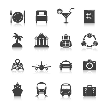 hotel room: Travel icon set black with hotel room luggage airplane isolated vector illustration Illustration