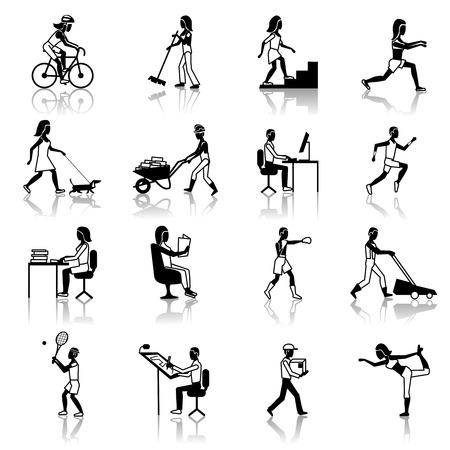 Physical activities icons black set with people silhouettes working cleaning cycling walking isolated vector illustration Vector