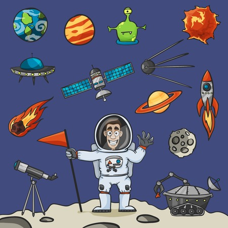 artificial satellite: Space elements set with rocket ufo satellite and astronaut vector illustration