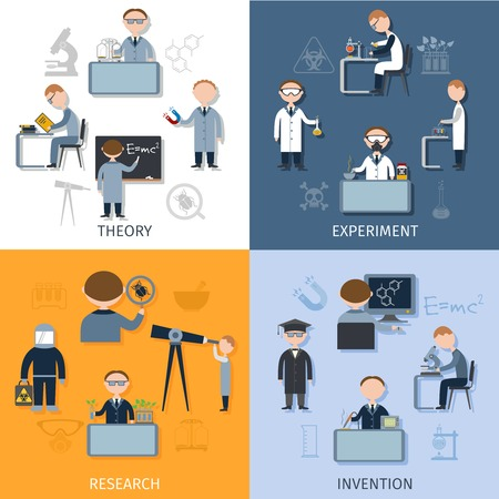 Science design concept set with theory experiment research invention flat icons isolated vector illustration Illustration