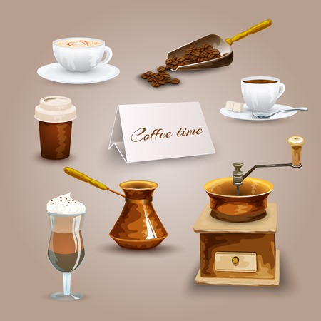 turk: Coffee decorative icons set with retro grinder turk beans isolated vector illustration