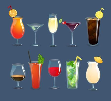 cocteles de frutas: Las bebidas alcoh�licas y c�cteles en vasos decorativos iconos conjunto aislado ilustraci�n vectorial