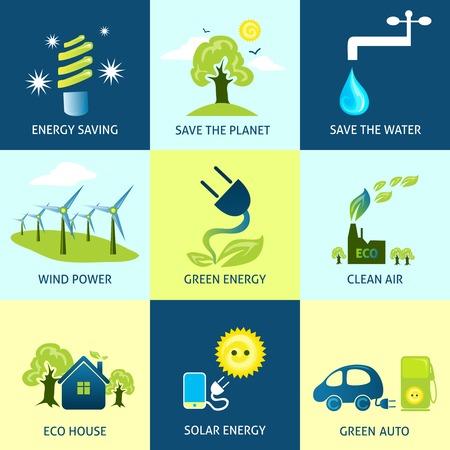 Conceptos de ecología conjunto con iconos de ahorro de agua planeta de energía ilustración vectorial aislado