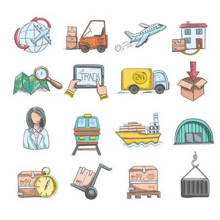 hand truck: Logistics delivery service and transportation sketch decorative icons set isolated vector illustration