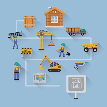 plan maison: concept de construction avec des ic�nes plates fix�es d'un plan travailleurs de la maison d'avertissement signe illustration vectorielle