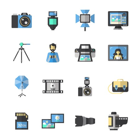 Photography equipment icons flat set with digital camera and editing soft isolated vector illustration Vector